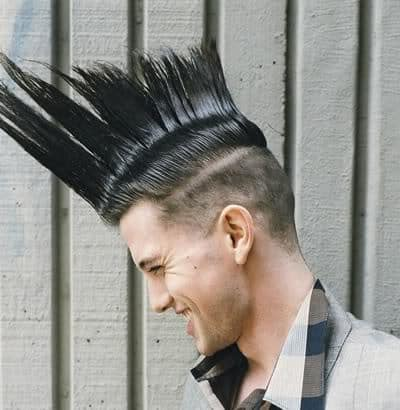 Jackson Rathbone Mohawk hairstyle viewed from the side.