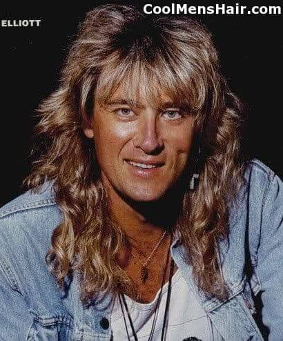 Picture of Joe Elliott rock star mullet hairstyle.