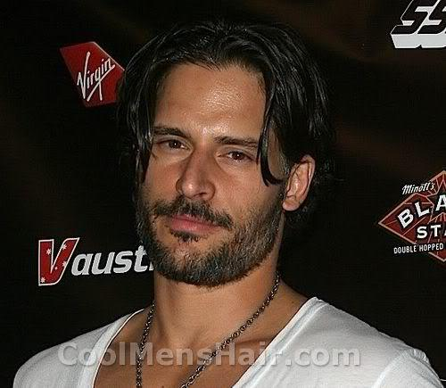 Photo of Joe Manganiello hairstyle, mustache, and berad.