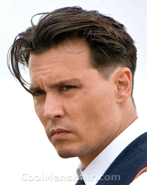 Photo of Johnny Depp hairstyle with tapered sides.