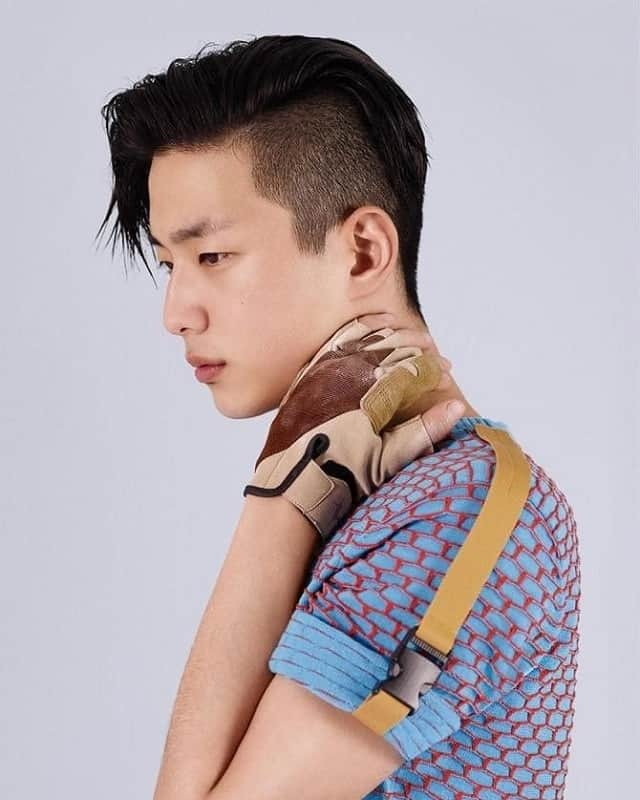 Korean men with side swept hairstyles
