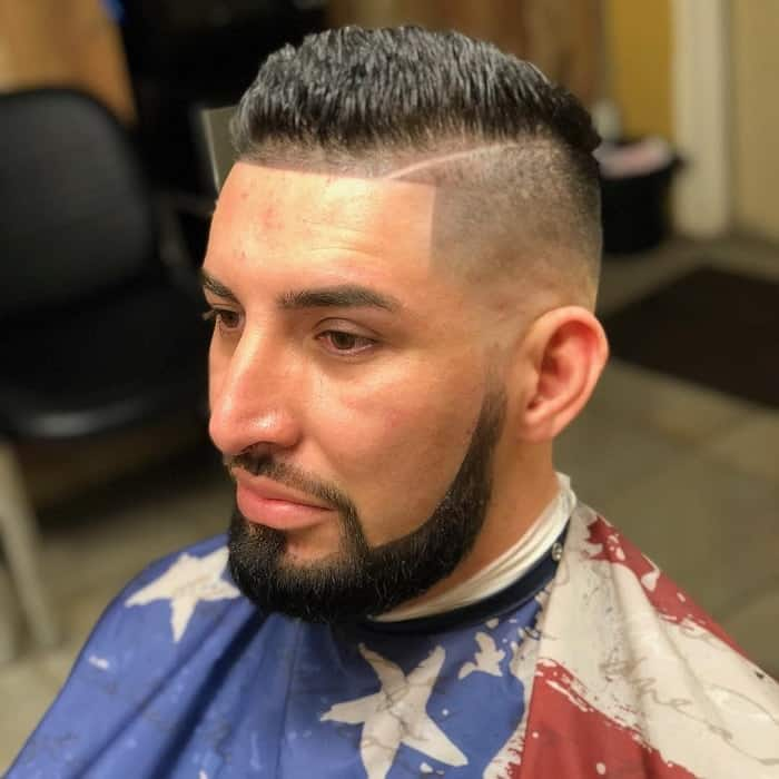 Bald Fade with Beard for Latino Men