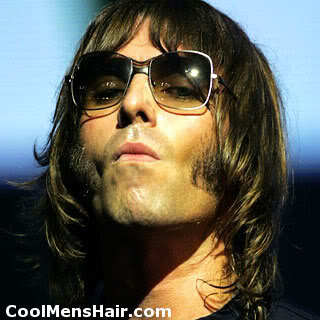 Photo of Liam Gallagher long pageboy hair.