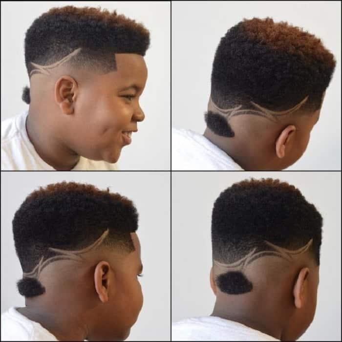 little black boy with modern ducktail haircut