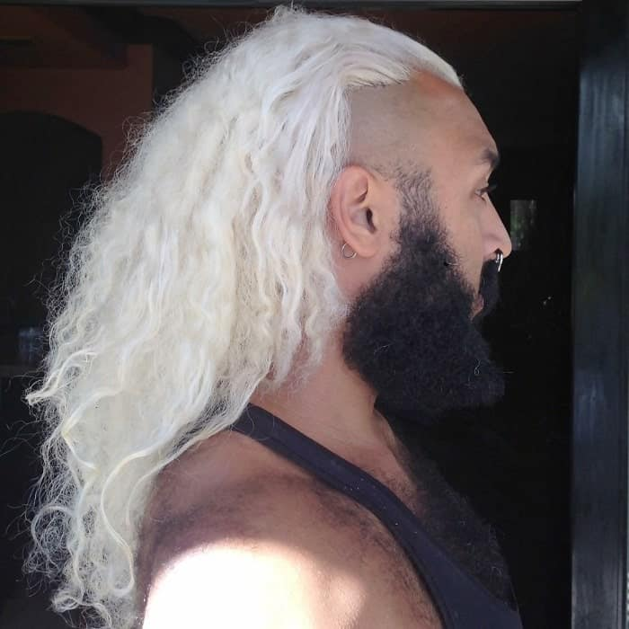 Platinum Blonde Long Hairstyle for Men