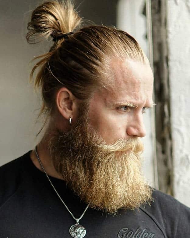 blonde high bun for men