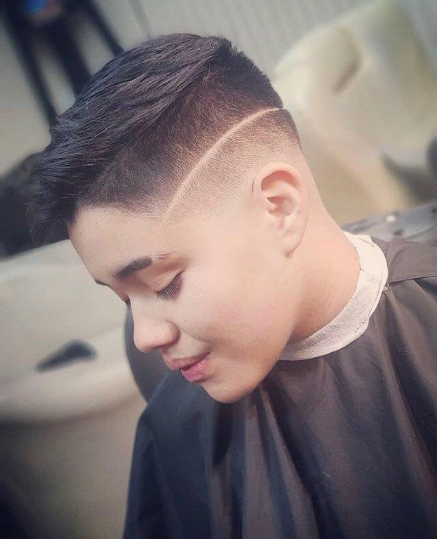 long buzz cut with line