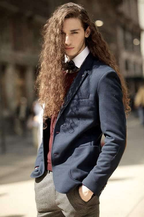 Very Long Layered,Messy Curls for men