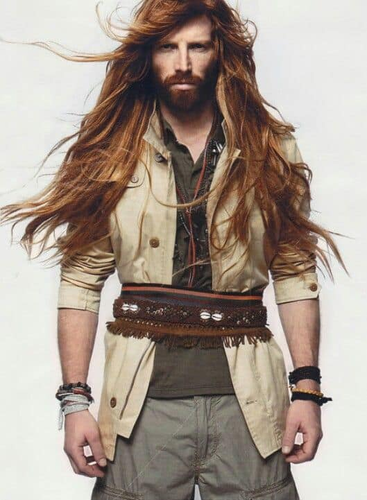 natural long hair with beard