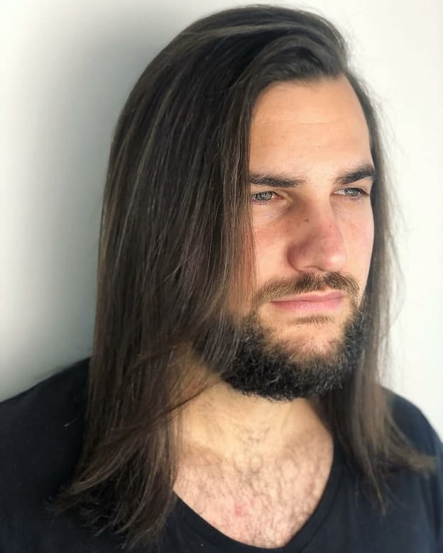 Long Straight Hairstyle for Men with Thin Hair