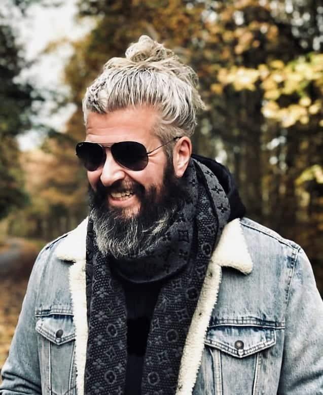 man bun with long hair for older men