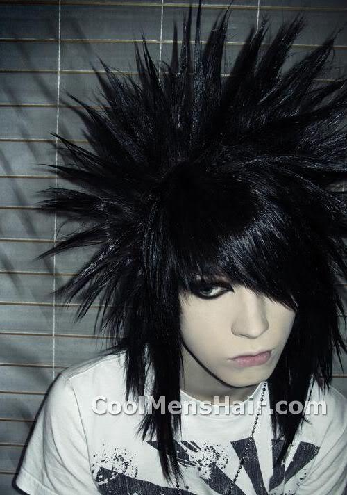 Photo of long emo spiky hairstyle.