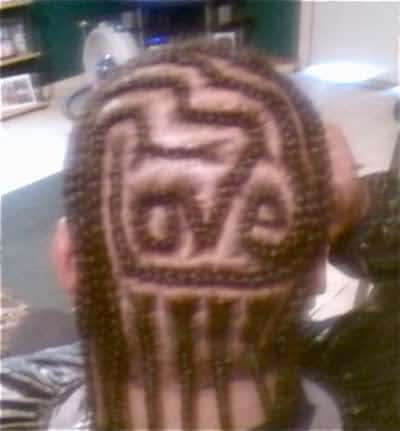 Picture of cornrow hairstyle.