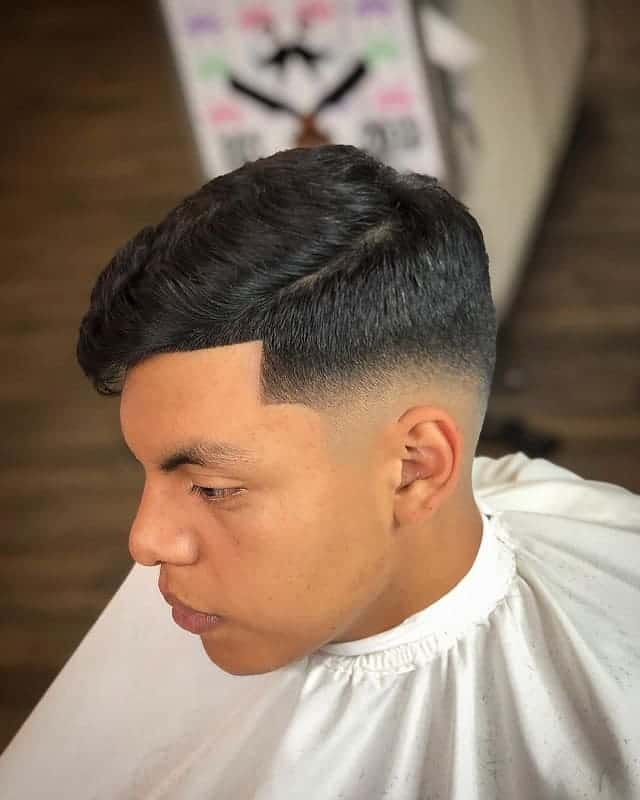 low drop fade with side part