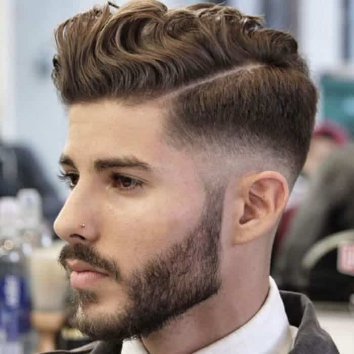 low fade haircut for long wavy hair