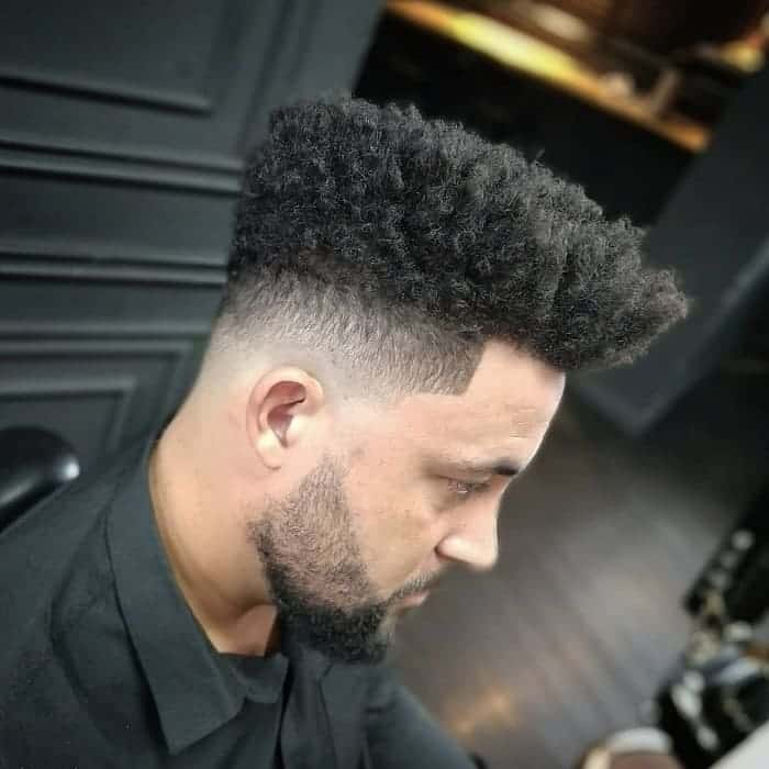 long curly hair with low fade