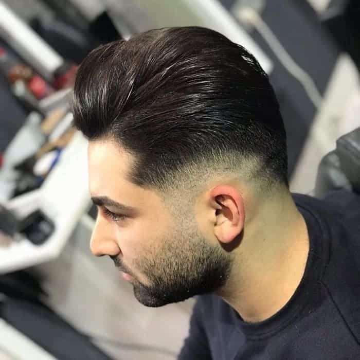 sleek long hairstyle with low fade