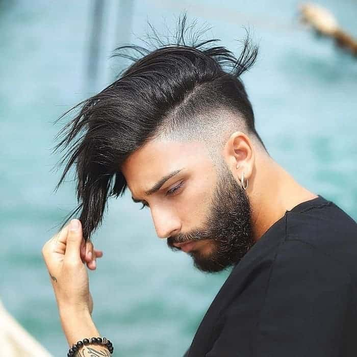 straight long hair with low fade