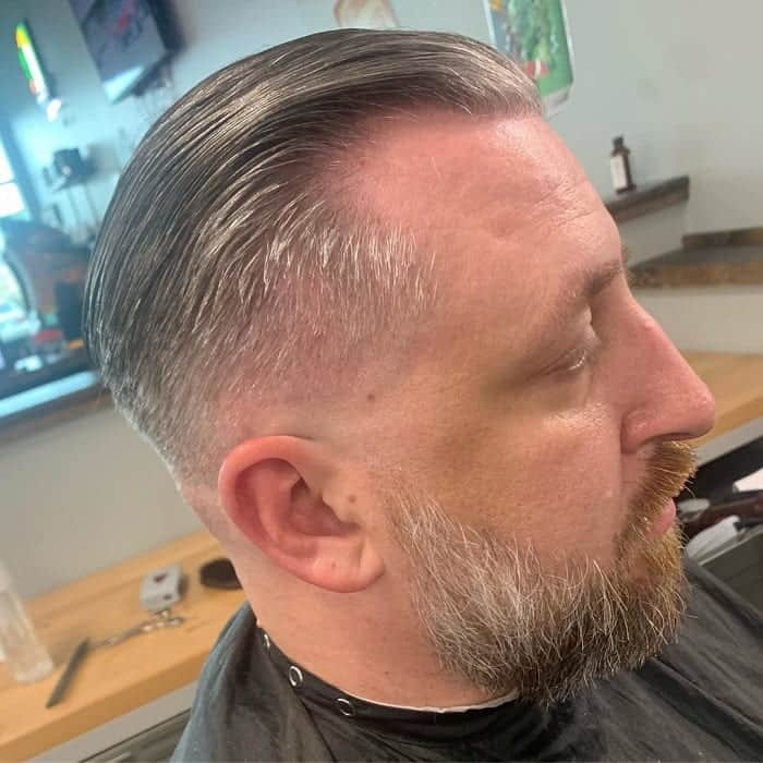low fade with long hair and beard