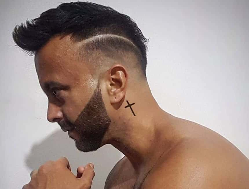 mohawk with low fade and beard