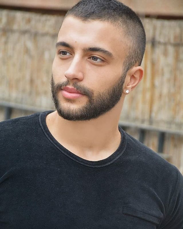 short hairstyle with low fade and beard