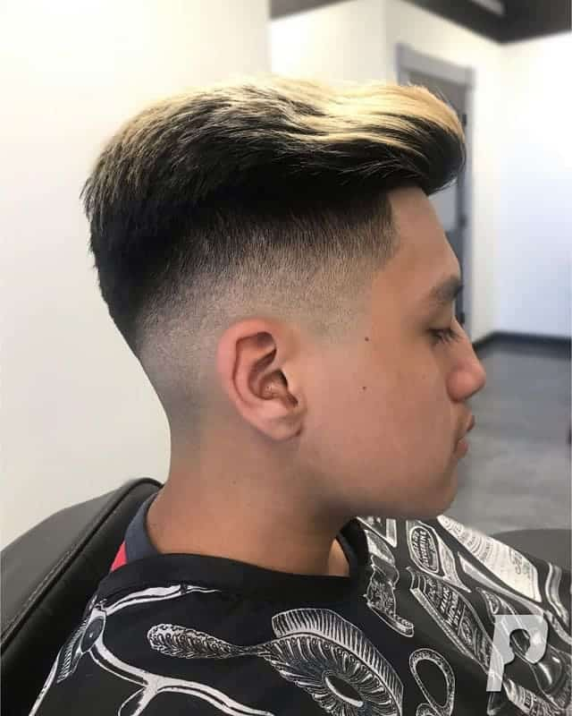 low fade with long hair on top