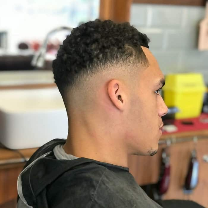 curly low tapered afro