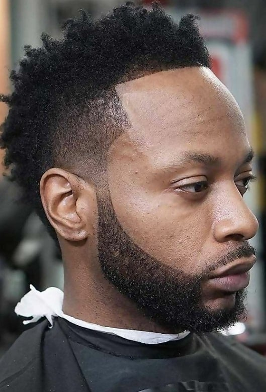 Low Tapered Afro Haircut with Beard