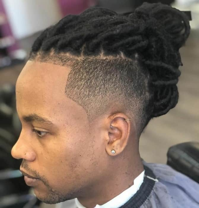 Low Tapered Afro Cut with Dreadlocks