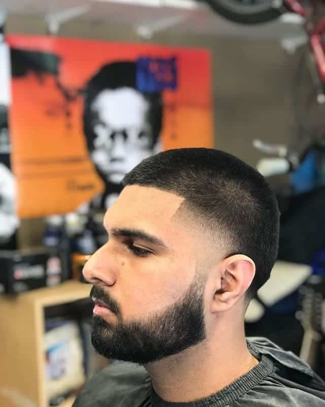 low temp fade with beard