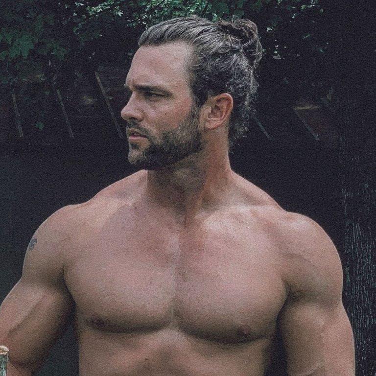 guy with curly man bun and beard