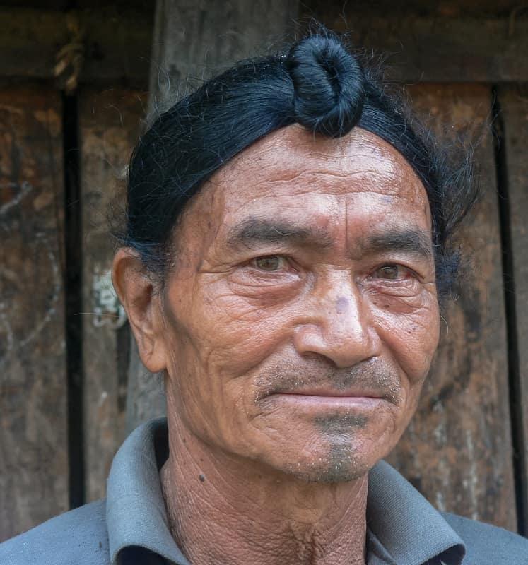 man bun for balding long hair