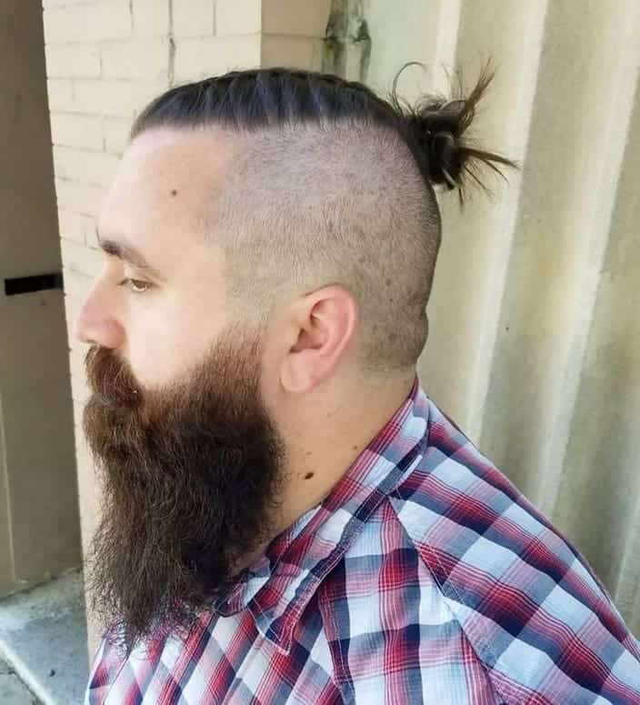 Messy Man Bun with Shaved Undercut