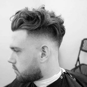high fade medium wavy hair