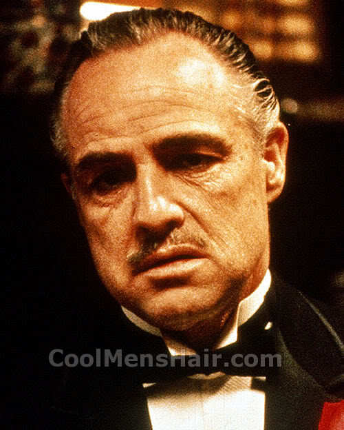 Picture of Marlon Brando hairstyle in The Godfather.