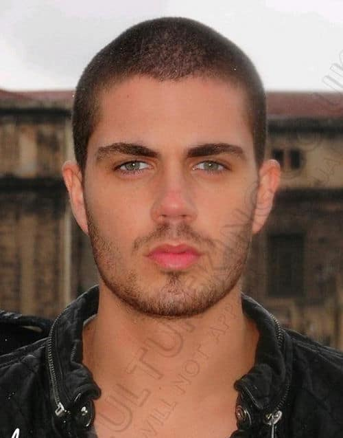Photo of Max George buzz cut hairstyle.