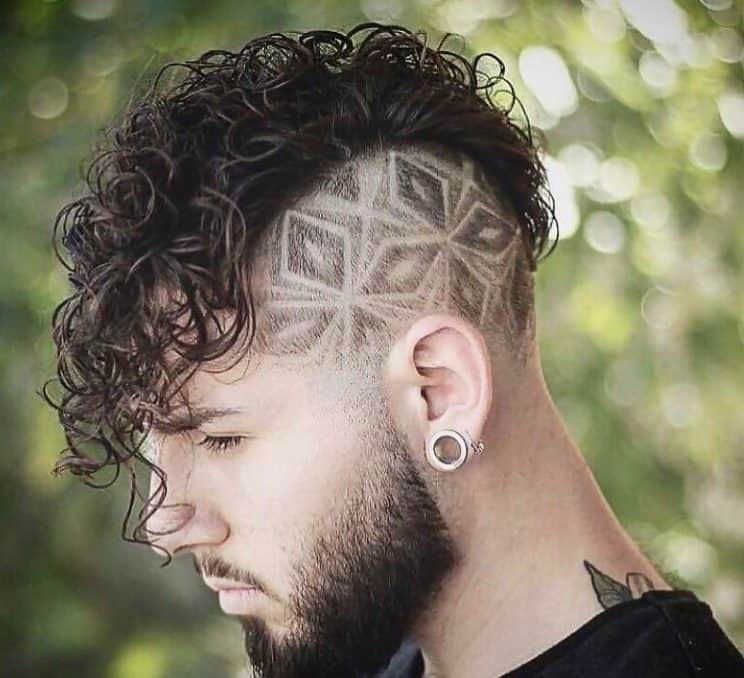 curly mohawk with medium length hair