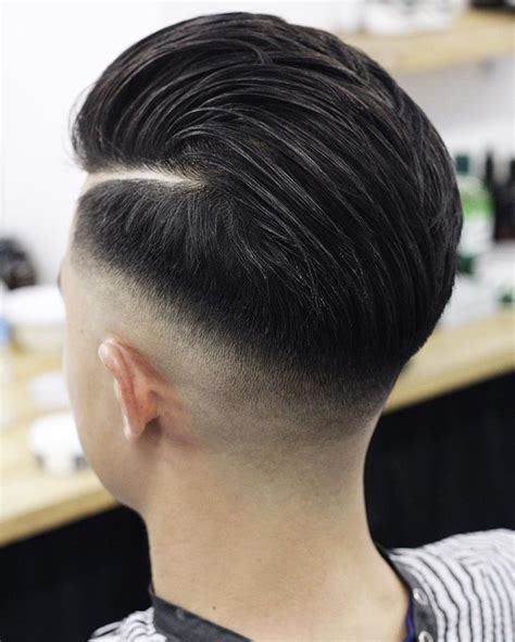 medium hairstyle with low fade