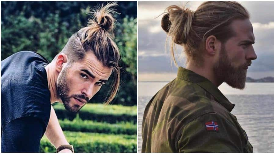 medium length man bun haircut