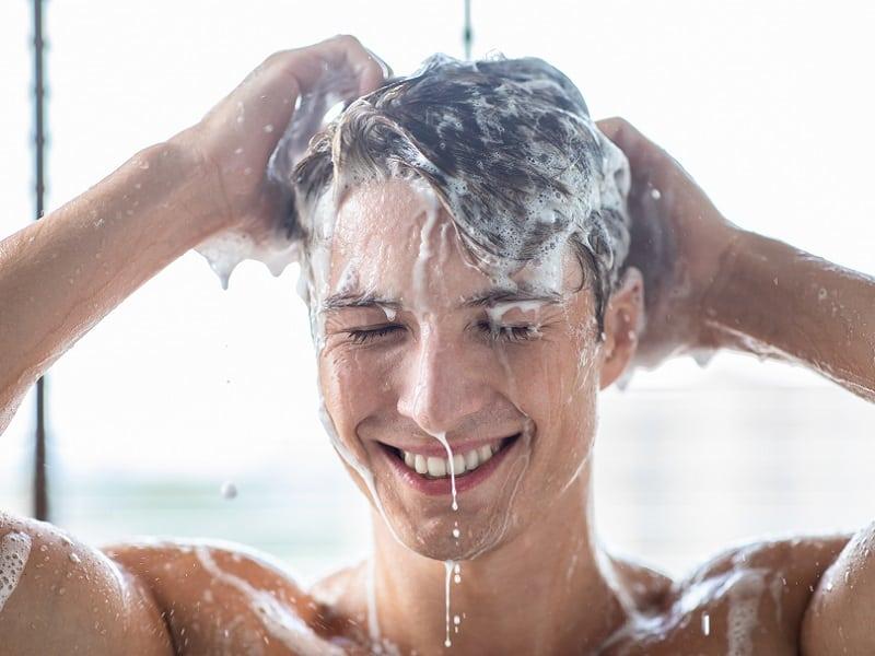 men washing straight hair