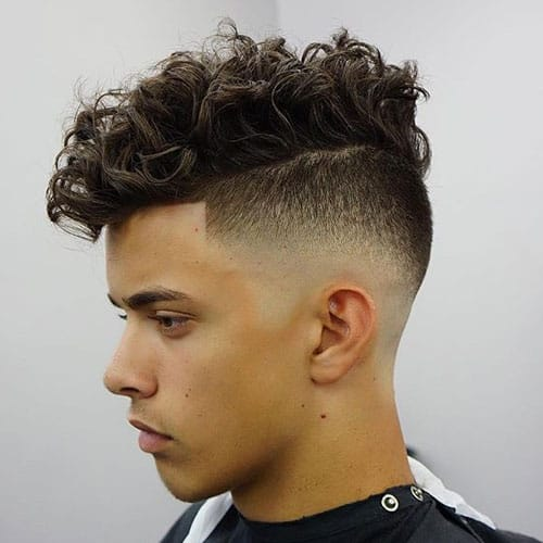 men with Razor fade hairstyle
