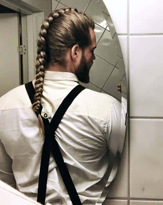 single braid for men with long hair