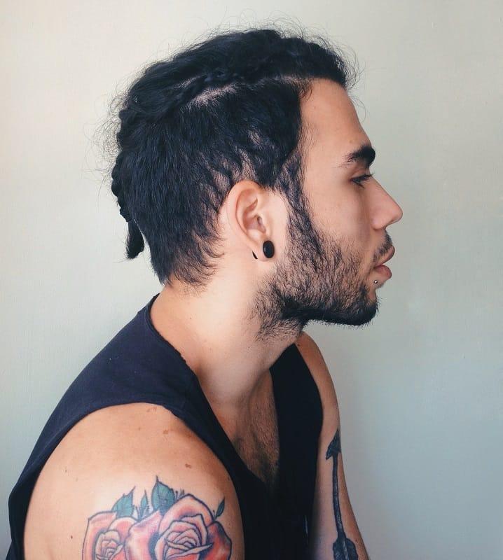 men's short hair braid with beard
