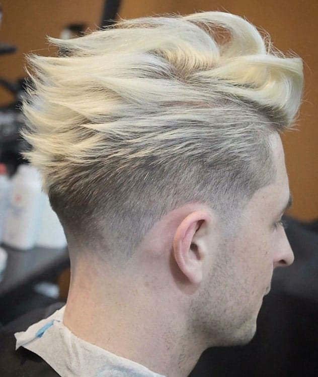 thick platinum blonde hairstyle for men