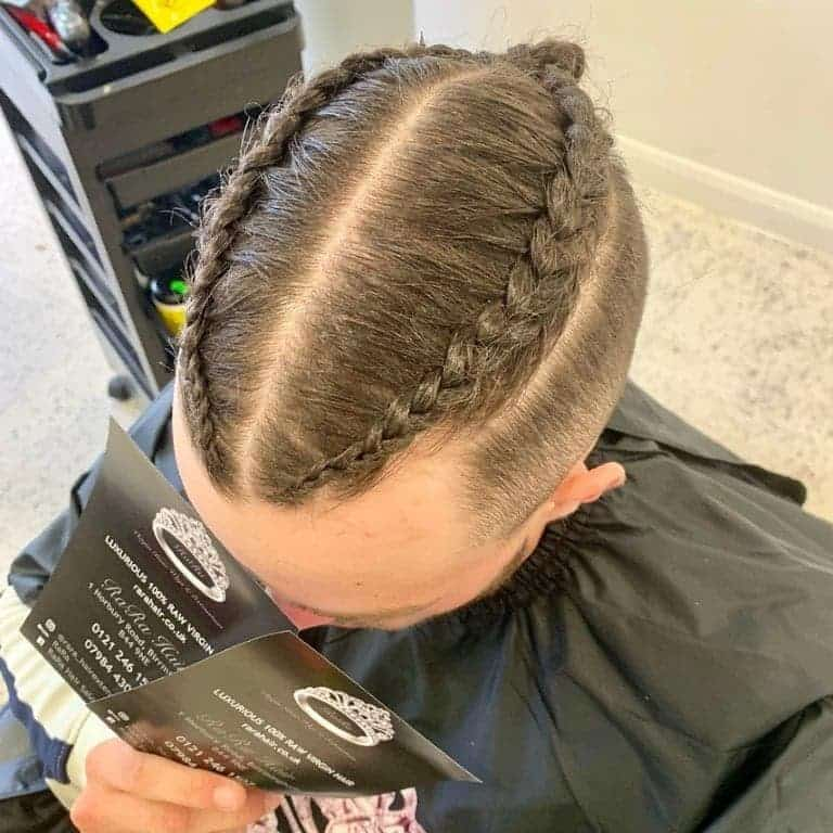 tow braids with bun for men