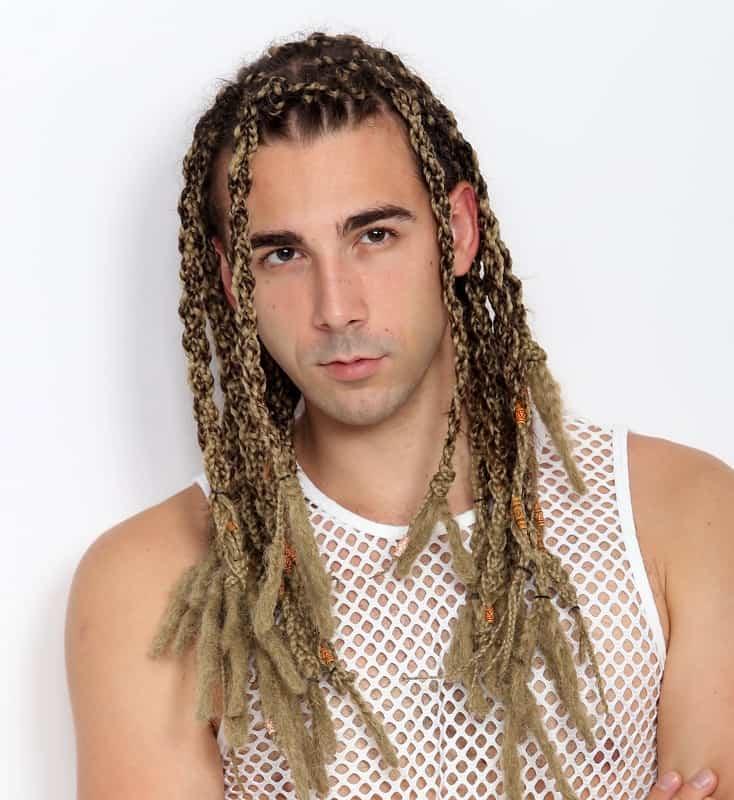 giros de dos hebras para cabello largo para hombres