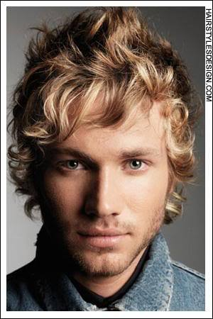 Image of mens curly hair.