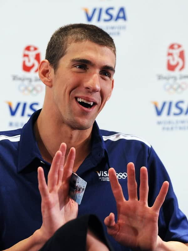 Image of Michael Phelps oblong face sporting buzz cut.