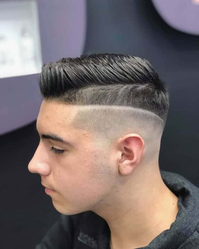 comb over with mid bald fade
