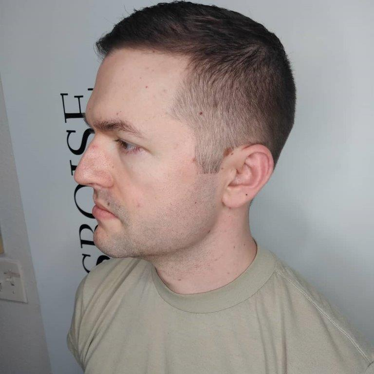 military buzz cut with fade